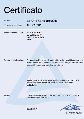 BS OHSAS Inox-Pa