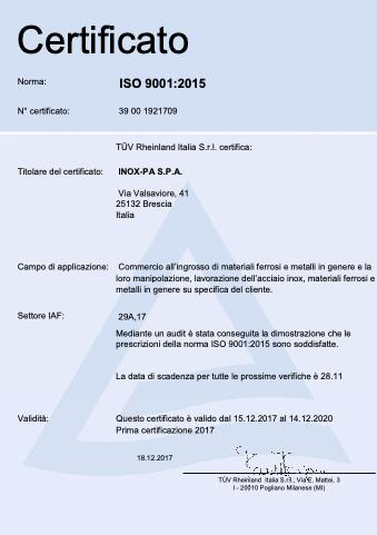 ISO 9001 Inox-Pa
