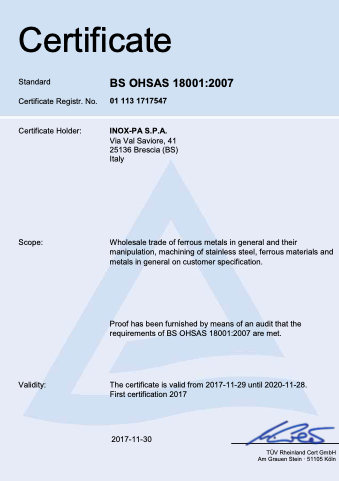 BS OHSAS EN Inox-Pa